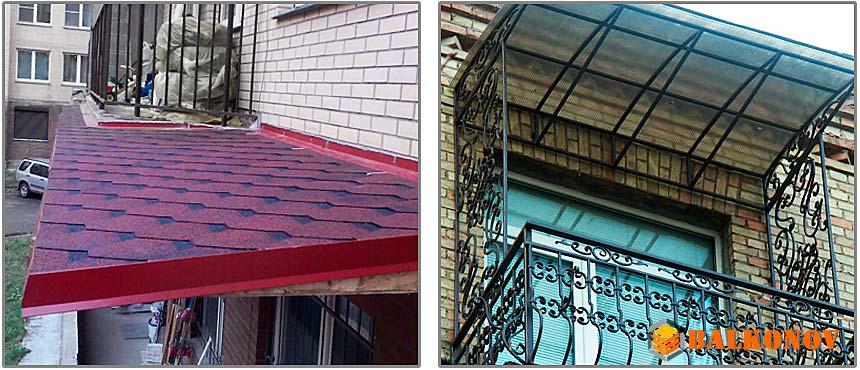 Ремонт крыши балкона.
